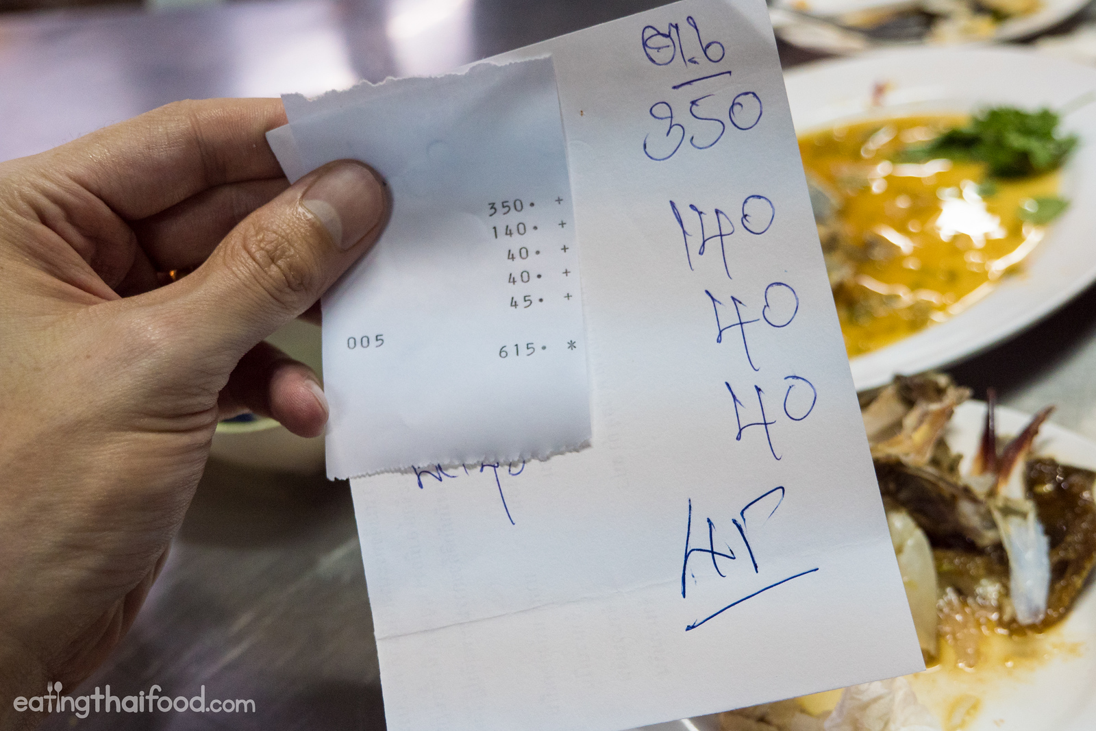 price for food in Thailand