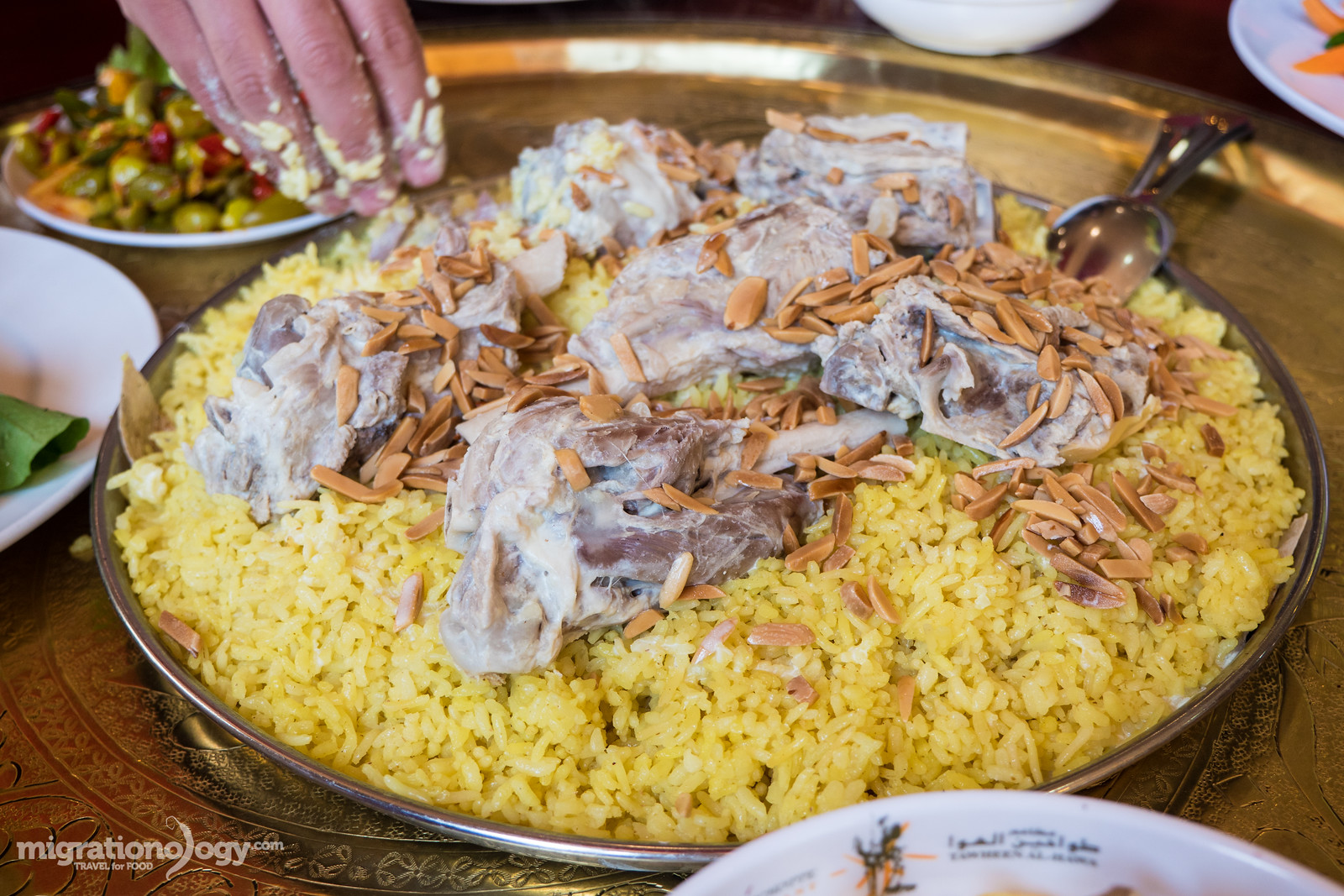 eating mansaf in Jordan