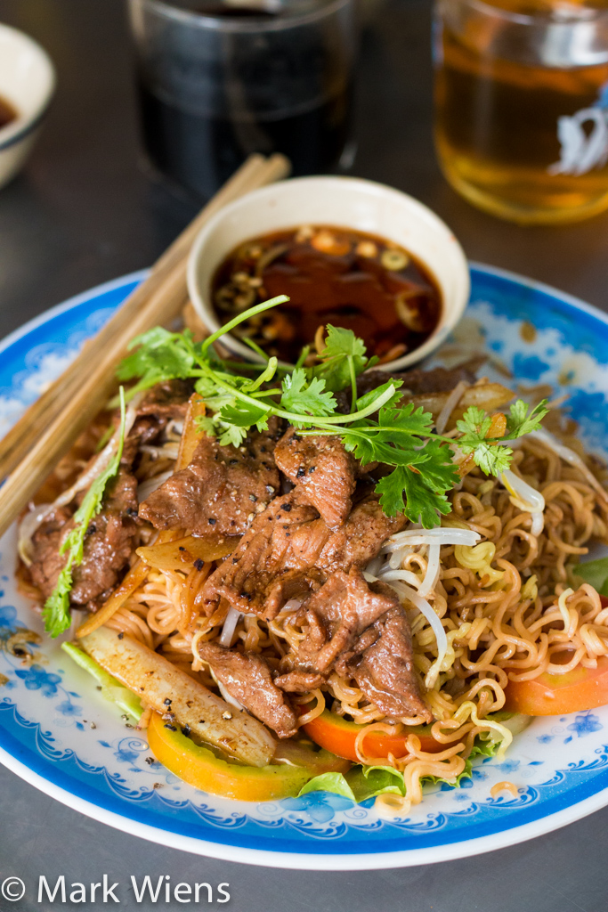 noodles and beef in Saigon
