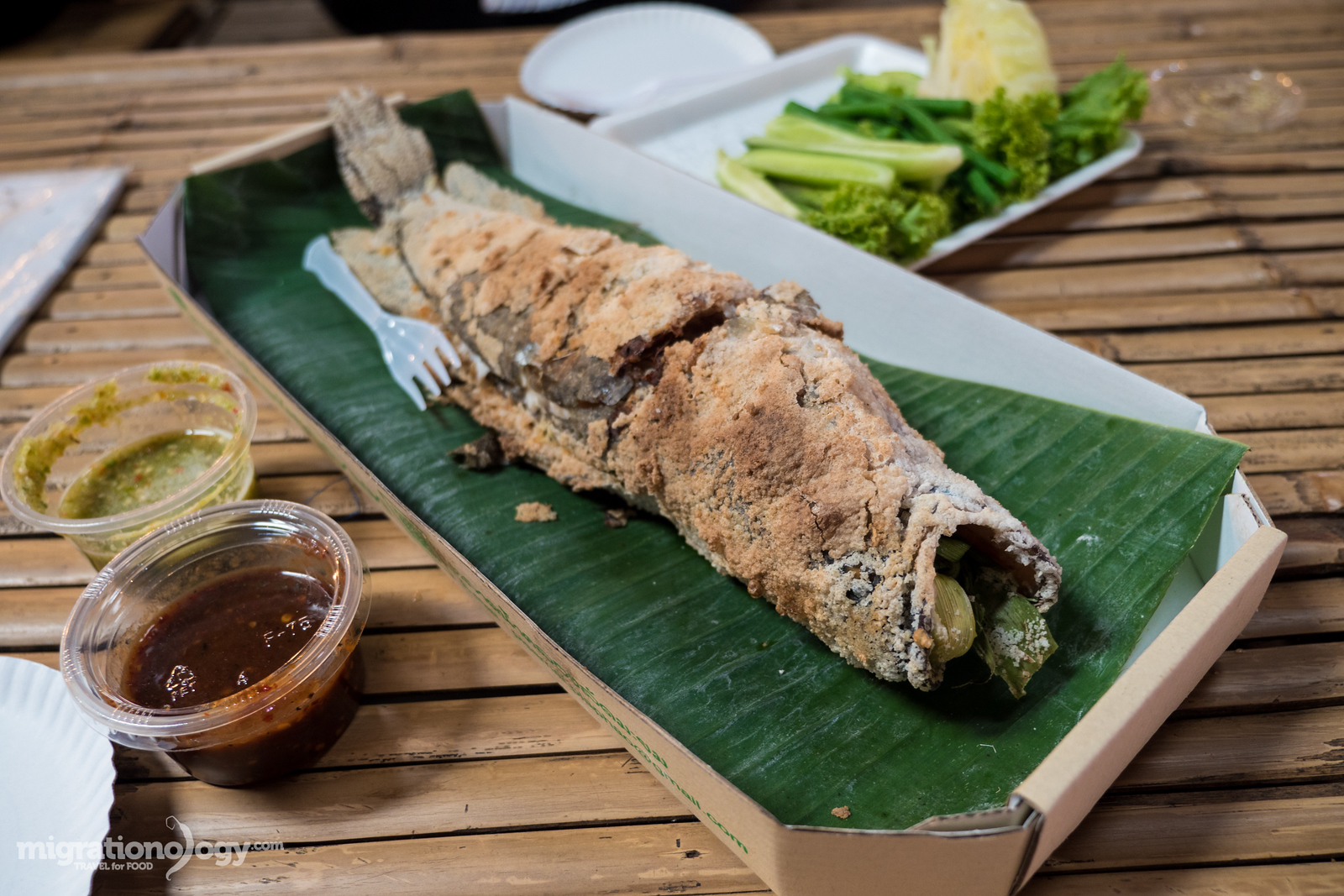 grilled snakehead fish (ปลาช่อนเผา)