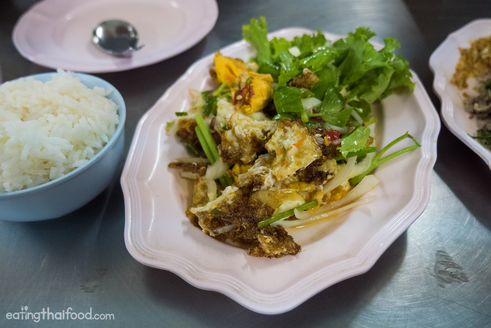 Thai fried egg salad