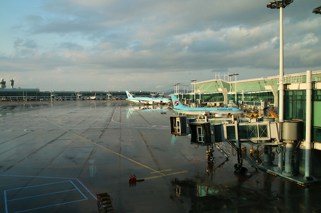 At the airport about to get on Korean Air