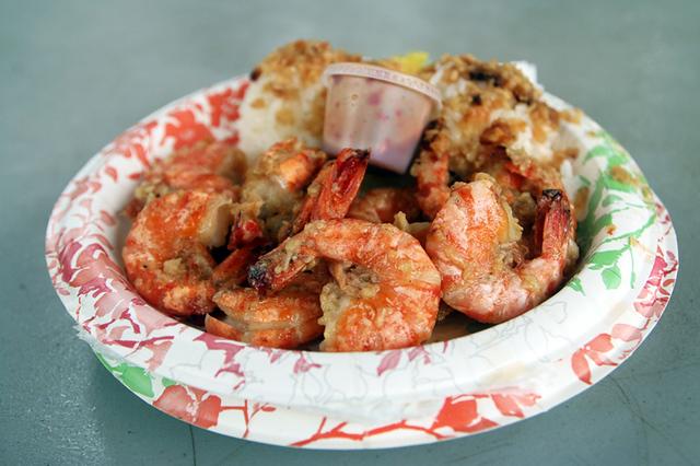 Fresh plate of garlic shrimp scampi
