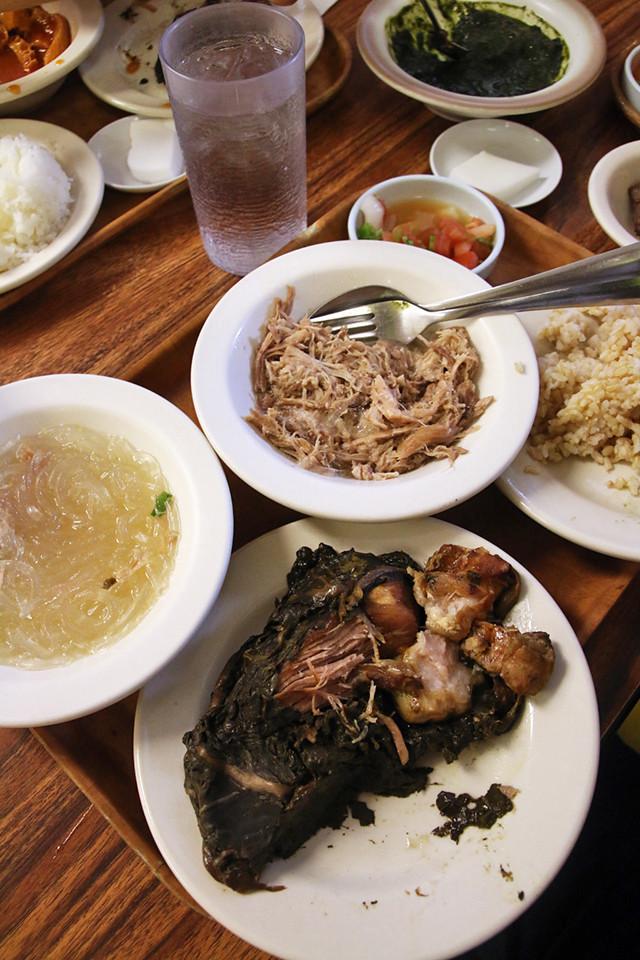 Hawaiian food at People's Cafe, Honolulu, Hawaii